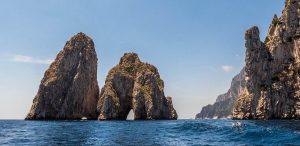 Sailing to Capri and Anacapri's grottoes and sea stacks